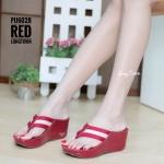รองเท้าแตะส้นเตารีด แบบคีบ สไตล์ลำลอง พื้นนิ่มเวอร์ [สีแดง ]
