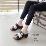 รองเท้าส้นตันเปิดส้น แบบสวม สายคาดคู่ สไตล์ลำลอง [สีดำ ]