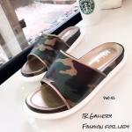 พร้อมส่ง รองเท้าแตะแฟชั่นสีน้ำตาล หนังนิ่ม พิมล์ลายพราง แฟชั่นเกาหลี [สีน้ำตาล ]