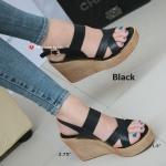 รองเท้าส้นเตารีดรัดส้น สายไขว้ กระชับเท้า [สีดำ ]