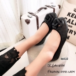 พร้อมส่ง รองเท้าคัทชูส้นแบน แต่งอะไหลดอกคามิลเลีย StyleChanel แฟชั่นเกาหลี [สีดำ ]