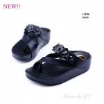 รองเท้าแตะเพื่อสุขภาพ หนีบโป้ง แต่งดอกไม้ [สีดำ ]