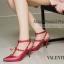 พร้อมส่ง รองเท้าส้นสูงรัดส้นสีแดง VALENTINO Rockstud Heel Style แฟชั่นเกาหลี [สีแดง ] thumbnail 1