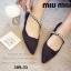 พร้อมส่ง รองเท้าคัทชูส้นแบนหัวแหลมสีดำ ผ้าซาติน สไตล์แบรนด์ MIU MIU แฟชั่นเกาหลี [สีดำ ] thumbnail 2