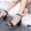 พร้อมส่ง รองเท้าส้นสูงรัดข้อสีดำ ผ้าสักหราด สไตล์ ZARA แฟชั่นเกาหลี [สีดำ ] thumbnail 5