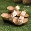 รองเท้าส้นตันเปิดส้น แบบสวม สายคาดคู่ สไตล์ลำลอง [สีทอง ] thumbnail 2
