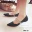 พร้อมส่ง รองเท้าคัทชูส้นแบนหัวแหลมสีดำ ผ้าซาติน สไตล์แบรนด์ MIU MIU แฟชั่นเกาหลี [สีดำ ] thumbnail 1