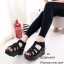 พร้อมส่ง รองเท้าส้นเตารีดรัดส้นสีดำ หนังกลับ ดีไซน์หนังสาน แฟชั่นเกาหลี [สีดำ ] thumbnail 3