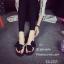 พร้อมส่ง รองเท้าแตะผู้หญิงสีดำ แบบคีบ แต่งโบว์ประดับมุก แฟชั่นเกาหลี [สีดำ ] thumbnail 1