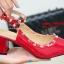 รองเท้าส้นตันรัดส้น หัวแหลม Chunky Style valentino [สีแดง ] thumbnail 3