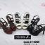 พร้อมส่ง รองเท้าส้นสูงรัดส้นสีดำ พียูนิ่ม สายคาดสองตอน แฟชั่นเกาหลี [สีดำ ] thumbnail 4