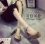 พร้อมส่ง รองเท้าส้นตันรัดส้นสีแอปริคอท ผ้าสักหราด แมทส์กับชุดได้ง่าย แฟชั่นเกาหลี [สีแอปริคอท ] thumbnail 1