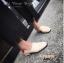 พร้อมส่ง รองเท้าคัทชูแฟชั่นสีครีม หนังนิ่ม ใส่ทับส้นได้ แฟชั่นเกาหลี [สีครีม ]