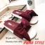 พร้อมส่ง รองเท้าแตะผู้หญิง แบบสวม ผ้าซาติน แต่งโบว์ แฟชั่นเกาหลี [สีแดง ] thumbnail 2