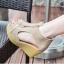 รองเท้าส้นเตารีดรัดส้น หุ้มข้อ แต่งซิป [สีครีม ] thumbnail 1