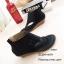พร้อมส่ง รองเท้าหุ้มข้อสีน้ำสีดำ แฟชั่นแคชชวล ฉลุลาย แฟชั่นเกาหลี [สีดำ ] thumbnail 4