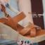รองเท้าส้นเตารีดรัดส้น สายไขว้ กระชับเท้า [สีน้ำตาล ] thumbnail 3