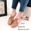 พร้อมส่ง รองเท้าส้นแบนแฟชั่นสีน้ำตาล หนังฉลุลาย สายคาดแบบT-Strap แฟชั่นเกาหลี [สีน้ำตาล ]
