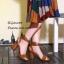 พร้อมส่ง รองเท้าส้นสูงรัดข้อสีน้ำตาล หนังกลับ ใส่กระชับเท้า แฟชั่นเกาหลี [สีน้ำตาล ] thumbnail 2
