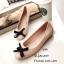 พร้อมส่ง รองเท้าคัทชูส้นแบนสีชมพู ยางนิ่มประดับโบว์ แฟชั่นรับหน้าฝน แฟชั่นเกาหลี [สีชมพู ] thumbnail 2