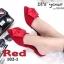 พร้อมส่ง รองเท้าส้นเตี้ยเปิดส้นสีแดง หัวแหลม แต่งกุหลาบ แฟชั่นเกาหลี [สีแดง ] thumbnail 3