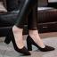 พร้อมส่ง รองเท้าคัทชูส้นตันสีดำ หัวแหลม ผ้าสักหราด แฟชั่นเกาหลี [สีดำ ] thumbnail 1
