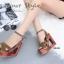 พร้อมส่ง รองเท้าส้นตึกรัดส้นสีน้ำตาล สายคาดไขว้ ส้นไม้ Korean Style Platform แฟชั่นเกาหลี [สีน้ำตาล ] thumbnail 4