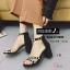 พร้อมส่ง รองเท้าส้นตันรัดข้อสีดำ ซิปหลัง สายคาดประดับมุก แฟชั่นเกาหลี [สีดำ ] thumbnail 2