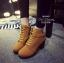 พร้อมส่ง รองเท้าบูทเกาหลีสีน้ำตาล หนังพียู ส้นตัน แฟชั่นเกาหลี [สีน้ำตาล ]