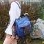 กระเป๋าเป้ผู้หญิง กระเป๋าสะพายข้างแฟชั่น ปักลายวินเทจ สะพายข้างหรือสพายหลังก็ได้ [สีน้ำเงิน ] thumbnail 4