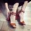 พร้อมส่ง รองเท้าส้นสูงรัดข้อสีน้ำตาล หนังกลับ ใส่กระชับเท้า แฟชั่นเกาหลี [สีน้ำตาล ] thumbnail 4