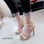 รองเท้าส้นเข็มรัดข้อ แต่งหมุด สไตล์Valentino [สีครีม ] thumbnail 1