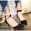 พร้อมส่ง รองเท้าส้นเข็มรัดข้อสีดำ หัวแหลม เดย์ทูไนท์ไอเท็ม แฟชั่นเกาหลี [สีดำ ]
