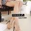 พร้อมส่ง รองเท้าส้นเข็มหุ้มส้นสีครีม สายคาดไขว้ สไตล์เกาหลี แฟชั่นเกาหลี [สีครีม ] thumbnail 3