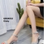 รองเท้าส้นตันรัดส้น เพิ่มสายรัดข้อเท้า [สีเทา ] thumbnail 4