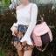 กระเป๋าเป้ผู้หญิง กระเป๋าสะพายข้างแฟชั่น ปักลายวินเทจ สะพายข้างหรือสพายหลังก็ได้ [สีชมพู ] thumbnail 3