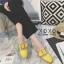 พร้อมส่ง รองเท้าส้นเตี้ยสีเหลือง แต่งหัวเข็มขัด แฟชั่นฮิตมากในเกาหลี แฟชั่นเกาหลี [สีเหลือง ] thumbnail 2