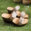 รองเท้าส้นตันเปิดส้น แบบสวม สายคาดคู่ สไตล์ลำลอง [สีเทา ] thumbnail 2