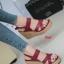 รองเท้าส้นเตารีดรัดส้น สายไขว้ กระชับเท้า [สีแดง ] thumbnail 3