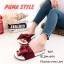 พร้อมส่ง รองเท้าแตะผู้หญิง แบบสวม ผ้าซาติน แต่งโบว์ แฟชั่นเกาหลี [สีแดง ] thumbnail 1