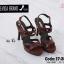 พร้อมส่ง รองเท้าส้นสูงรัดส้นสีแดง พียูนิ่ม สายคาดสองตอน แฟชั่นเกาหลี [สีแดง ] thumbnail 3