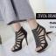 พร้อมส่ง รองเท้าส้นสูงรัดข้อเท้าสีดำ ผ้ากลิตเตอร์ติดเพชร ซิปหลัง แฟชั่นเกาหลี [สีดำ ]