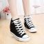 พร้อมส่ง รองเท้าผ้าใบหุ้มข้อสีขาว สริมส้น ผ้าแคนวาส แฟชั่นเกาหลี [สีดำ ]