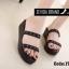 พร้อมส่ง รองเท้าแตะผู้หญิงสีดำ แบบสวม สายคาดสองตอน แฟชั่นเกาหลี [สีดำ ] thumbnail 1