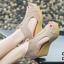 รองเท้าส้นเตารีดรัดส้น หุ้มข้อ แต่งซิป [สีครีม ] thumbnail 2