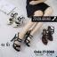 พร้อมส่ง รองเท้าส้นสูงรัดส้นสีดำ พียูนิ่ม สายคาดสองตอน แฟชั่นเกาหลี [สีดำ ] thumbnail 3