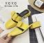 พร้อมส่ง รองเท้าส้นเตี้ยสีเหลือง แต่งหัวเข็มขัด แฟชั่นฮิตมากในเกาหลี แฟชั่นเกาหลี [สีเหลือง ] thumbnail 1