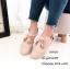 พร้อมส่ง รองเท้าส้นแบนแฟชั่นสีครีม หนังฉลุลาย สายคาดแบบT-Strap แฟชั่นเกาหลี [สีครีม ] thumbnail 2