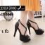 พร้อมส่ง รองเท้าส้นเข็มหุ้มส้นสีดำ สายคาดไขว้ สไตล์เกาหลี แฟชั่นเกาหลี [สีดำ ] thumbnail 2