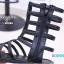 พร้อมส่ง รองเท้าแตะส้นเตี้ยสีดำ หนังนิ่ม สไตล์ Gladiater Sandals แฟชั่นเกาหลี [สีดำ ] thumbnail 3